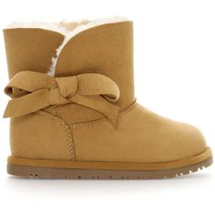 Zara Winter Boot With Bow ($20) ❤ liked on Polyvore featuring baby, baby shoes, baby girl, kids, baby stuff and leather