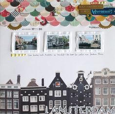 I Amsterdam - Scrapbook.com - use a large 12 x 12 photo as a background. The white space is a perfect place for smaller inset photos, patterned papers, embellishments and journaling.