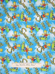 Camelot Cotton Fabric - Bart Simpson Skateboard & Logo on Sky Blue YARDS in Crafts,Sewing & Fabric,Fabric | eBay
