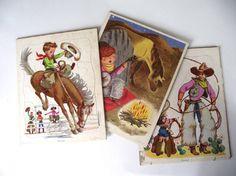 Playskool Puzzle Set 1960s Cowboy Toy Childrens by RavishingRuby, $20.00