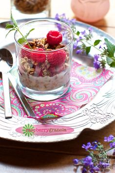Raspberry Maple-Pecan Granola Recipe  via @Marla Meridith FamilyFreshCooking.com