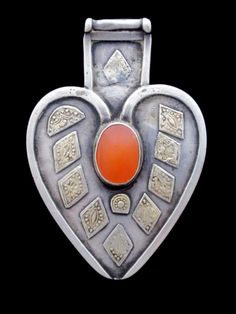 Rare Antique Turkmen Yomud Tribal Jewelry Asyk Silver Pendant