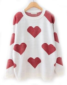 White Long Sleeve Hearts Pattern Loose Sweater pictures
