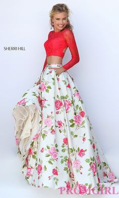 Image of floor length long sleeve two piece floral print dress Style: SH-50261 Detail Image 2