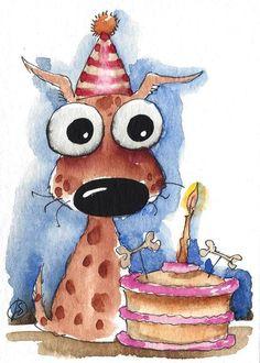 ACEO Original watercolor art painting whimsical big eyed brown dog birthday cake #IllustrationArt