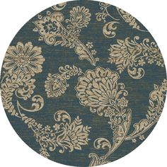 Shop Concord Global KENSINGTON Round Blue Floral Woven Area Rug (Common: 5-ft x 5-ft; Actual: 5-ft 3-in x 5-ft 3-in) at Lowes.com