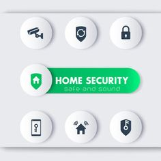 Home security icons, cctv, house security mobile app, secure house, security…