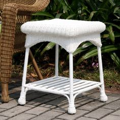 Jeco Wicker Patio End Table in White -- This is an Amazon Associate's Pin. Clicking on the image will lead you to the Amazon website.