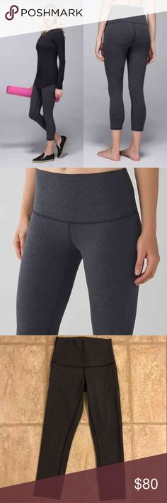 Lululemon WUC Roll Down High Rise size 4 Lululemon Wunder Under Crop II Roll Down High Rise. Size: 4. Color: Heathered Black (Dark Grey Charcoal). 4 way stretch. EUC. Cheaper on Ⓜ️ercai. lululemon athletica Pants Ankle & Cropped