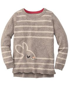 We love the supercrafting of intarsia knit critters that go from front to back without a meow. Warm cotton and wool sweater is so extra-fun that she might want to wear it every single day. Great idea.   <br>•Superozy combed cotton/wool yarns <br>•Front-to-back intarsia animal pattern  <br>•Hi-lo hem is longer in back <br>•Machine wash <br>•Imported