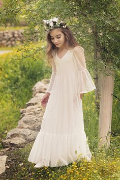 First Communion Dress/Flower Girl Off White Lace Dress/