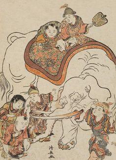 Chinese Boys (Karako) with an Elephant.  Woodblock print.  1780, Japan, by artist Torii Kiyonaga.