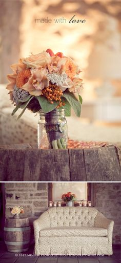 Loving the textures and variety in this bouquet. Great idea with the mason jar holder. Vintage Bridal Bouquet, Orange Wedding Colors, Flower Studio, Bride Bouquets, Wedding Flowers, Wedding Decorations, Beautiful Bouquets, Wedding Inspiration, Wedding Ideas