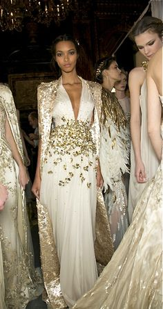 Zuhair Murad gorgeous white and gold gowns