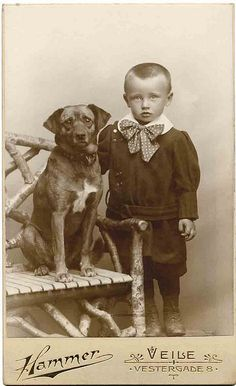 Vintage photo, boy wearing gigantic bow tie, dog on bench Vintage Children Photos, Vintage Pictures, Vintage Images, Photos With Dog, Dog Pictures, Victorian Photos, Antique Photos, Me And My Dog, Most Popular Dog Breeds