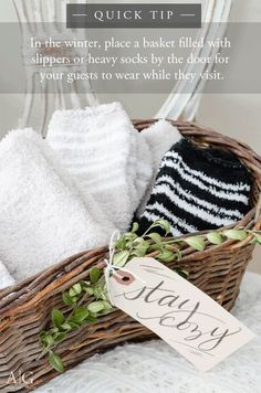 Fill a basket with heavy socks or slippers for your guests to wear while they visit your home during the cold winter months. Guest Room Baskets, Guest Basket, Guest Room Decor, Guest Rooms, Fall Gift Baskets, Bedroom Slippers, Cute Slippers, Cozy Socks, Welcome Gifts