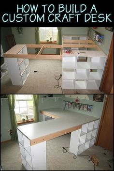 How to build a custom craft desk This Custom Made Craft Table Lets. - How to build a custom craft desk This Custom Made Craft Table Lets You Keep Everythin - Craft Tables With Storage, Craft Room Tables, Craft Desk, Craft Room Storage, Storage Ideas, Craft Space, Sewing Room Storage, Ikea Craft Room, Table Storage