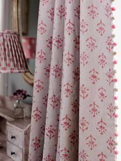 Red Moonflower With Rose Dark Beech Pompoms Is Timeless It Delicate Enough But Also Fabric Blindscurtains Blindscurtain