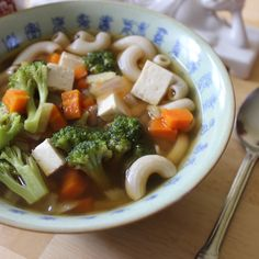 Broccoli tofu noodle soup. Oil-free, gluten-free, and delicious. #WFPB  www.thecampbellplan.com