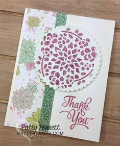 "Stampin' UP! Succulent Garden cards featuring Glimmer Paper from Sale a Bration and Window Box thinlit die ""doilies"", by Patty Bennett"