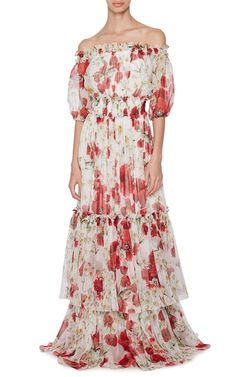 Silk Off The Shoulder Floral Dress  by DOLCE & GABBANA Now Available on Moda Operandi
