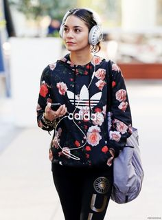 Floral Adidas Hoodie. Urban Fashion. Swag. Dope. Sporty. Urban Outfit. Hip Hop Style. Vanessa Hudgens Style