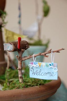 fairy garden with fairy mailbox