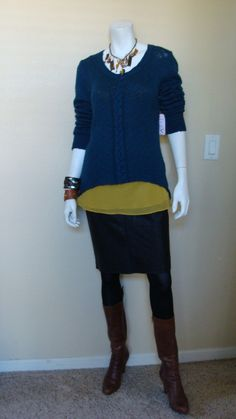 Daily Look: CAbi Fall '13 Fleather Pencil Skirt, Ochre Cami and Cable Pullover with a handmade necklace from Pam Conner and brown boots.