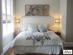 A collection of Young House Love before and after room makeovers completed virtually (thanks to our mood board service) and in the flesh. Pretty Bedroom, Dream Bedroom, Home Bedroom, Master Bedroom, Bedroom Decor, Calm Bedroom, Bedroom Nook, Young House Love, Sweet Home