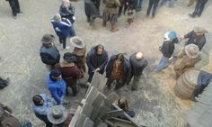 The Musketeers - Luke and his stunt double on set.
