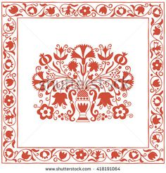Antique Hungarian embroidery pattern with carnations and pomegranates. A beautiful antique embroidery pattern from a textile can be seen in a museum