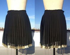 Vintage 1990's sheer black and gold pleated skirt by trashedbytime