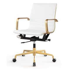 Designed with a mid-century aesthetic and modern functionality, the M348 office chair is one smart addition to your workspace. Brushed gold accents and crisp white create a striking dynamic on a stabl