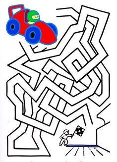 * Klaar voor de start! Maze Games For Kids, Mazes For Kids, Maze Worksheet, Fun Worksheets, Activities For 6 Year Olds, Kindergarten Activities, Maze Puzzles, Transportation Theme, Pediatric Ot