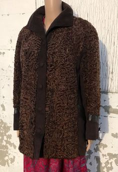 Vintage Lambswool Coat Ladies Brown Leather Accents Spring Jacket Persian | eBay