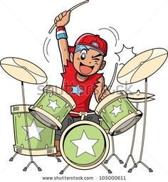 Drums Cartoon, Kids Drum Set, Drum Drawing, Drum Lessons For Kids, Drum Tattoo, Drums Art, Royalty Free Clipart, Kids Vector, How To Play Drums