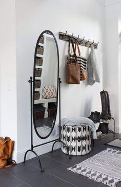 mirror, coat hooks, ottoman and shoe rack