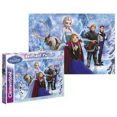 Frozen puzzel Brilliant 104 st. Puzzel met alle karakters van de Disney film Frozen. De puzzel staat op papier met diamant effect en ook de doos is hier van gemaakt. Vanaf 8 jr.
