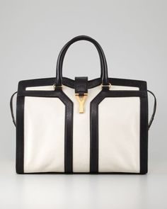 Yves Saint Laurent Cabas Two-Tone ChYc Tote, Large - Neiman Marcus
