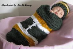 Baby Cocoon Football Green Bay Packers Green Gold and White Cuddle Sack Photo Props Baylor Football Cocoon Children Clothing Newborn Infant. $35.00, via Etsy.
