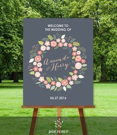 Floral Wedding Welcome Sign DIY // Welcome To by JadeForestDesign