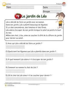 Léo's garden – cycle reading assessment with questionnaire - Modern French Language Lessons, French Language Learning, French Lessons, French Verbs, French Grammar, French Teaching Resources, Teaching French, Grade 1 Reading, French Worksheets