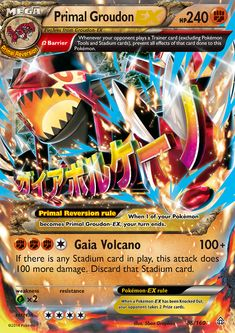 Shop Pokemon - Primal Groudon-EX - XY Primal Clash - Holo. Groudon Pokemon, Cool Pokemon Cards, Rare Pokemon Cards, Pokemon Trading Card, Pokemon Party, Pokemon Birthday, Trading Cards, Pokemon Stuff, Frases