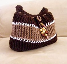 Crochet brown striped shoulder bag, crochet beaded shoulder bag, crochet fashion shoulder bag 2013. $45.00, via Etsy.