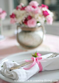 Pink and White Valentine's table setting