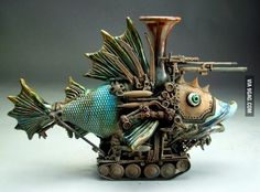 Steampunk Fish Tank Mitchell Grafton is a full time ceramic artist out of Panama City, Florida. Via Grafton Pottery and found originally and tracked back through Blackslava's LiveJournal. Chat Steampunk, Steampunk Kunst, Steampunk Design, Steampunk Fashion, Steampunk Images, Steampunk Clock, Steampunk Necklace, Steampunk Diy, Gothic Fashion