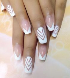 """The """"Look Stunning"""" starter pack: white and naked nails with chevron pattern."""