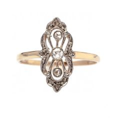 Park City is an pretty antique Victorian diamond navette ring centering a single Old Mine Cut diamond! TrumpetandHorn.com // $1,700