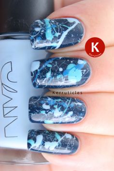 Day 24: art with the colour you own the most of – blue splatter nails using Chanel Magic, Barry M Turquoise, Rimmel Blue Eyed Girl and NYC Raindrop (or Blue Sky!)
