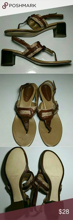 50% on 3+ Aigner Stack Low Heel Sandals 8 Lovely leather and fabric sandals by Etienne Aigner. Great pre-owned condition. Just some wear on brown underside of toe that can be seen in the 3rd pic. Only other bending is from storage. Shoes have been cleaned. (2-16) Etienne Aigner Shoes Sandals